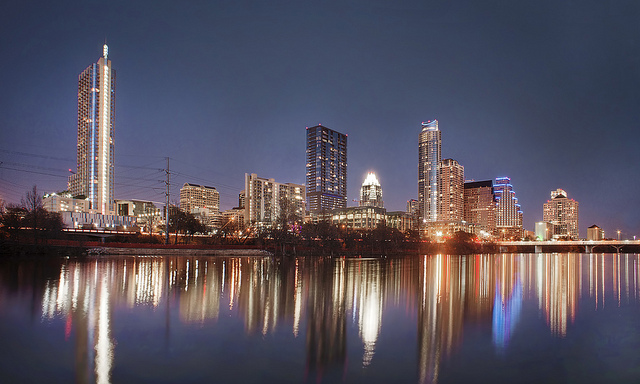 The skyline of Austin, Texas at night hides many hidden Austin secret places