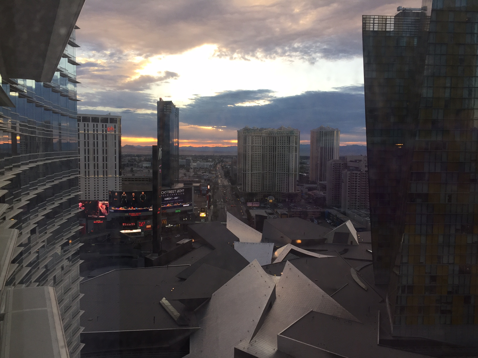 A view of the Las Vegas strip from a guest room at the Aria, during sunrise
