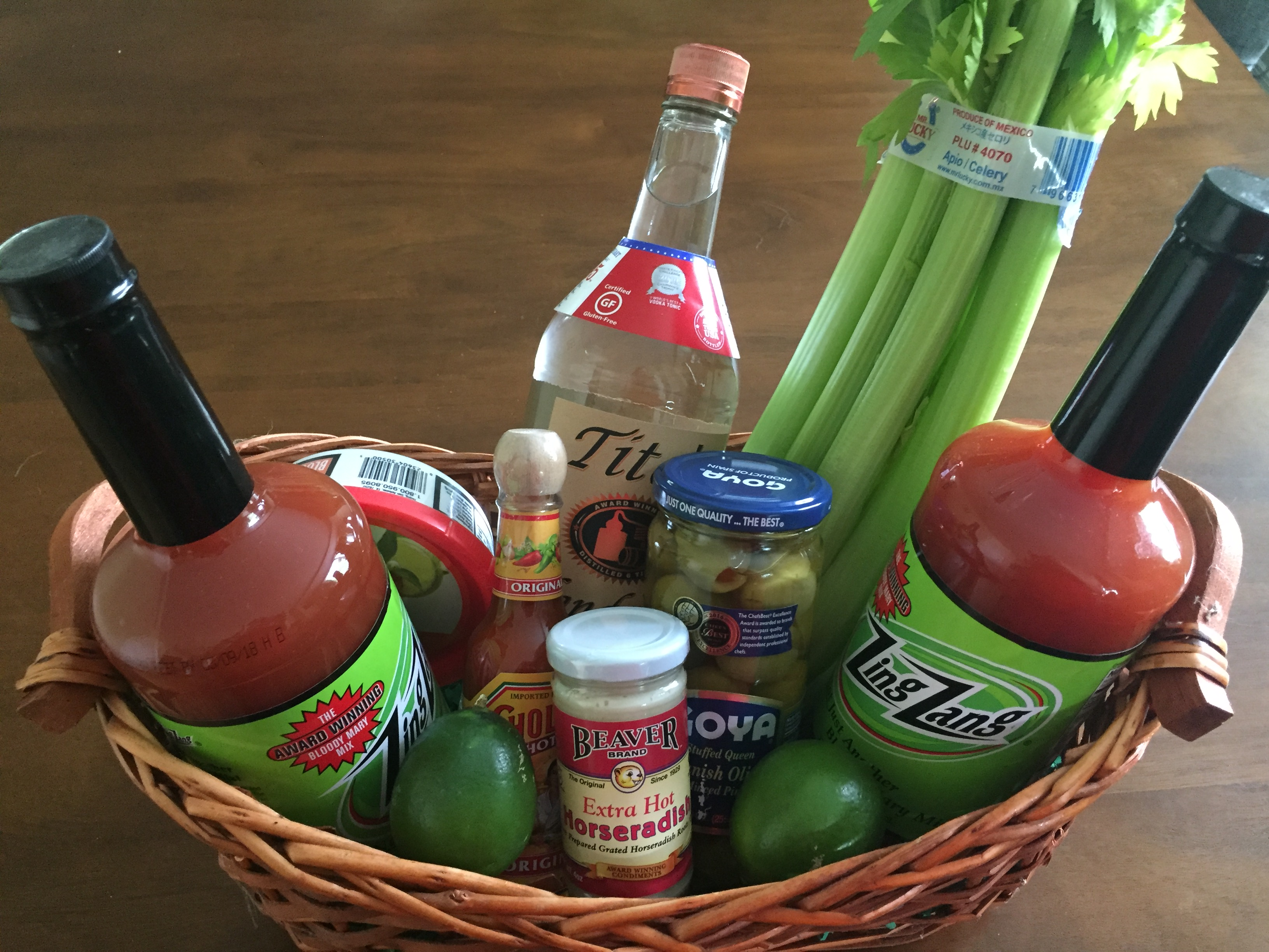 DIY housewarming gift basket full of bloody mary ingredients