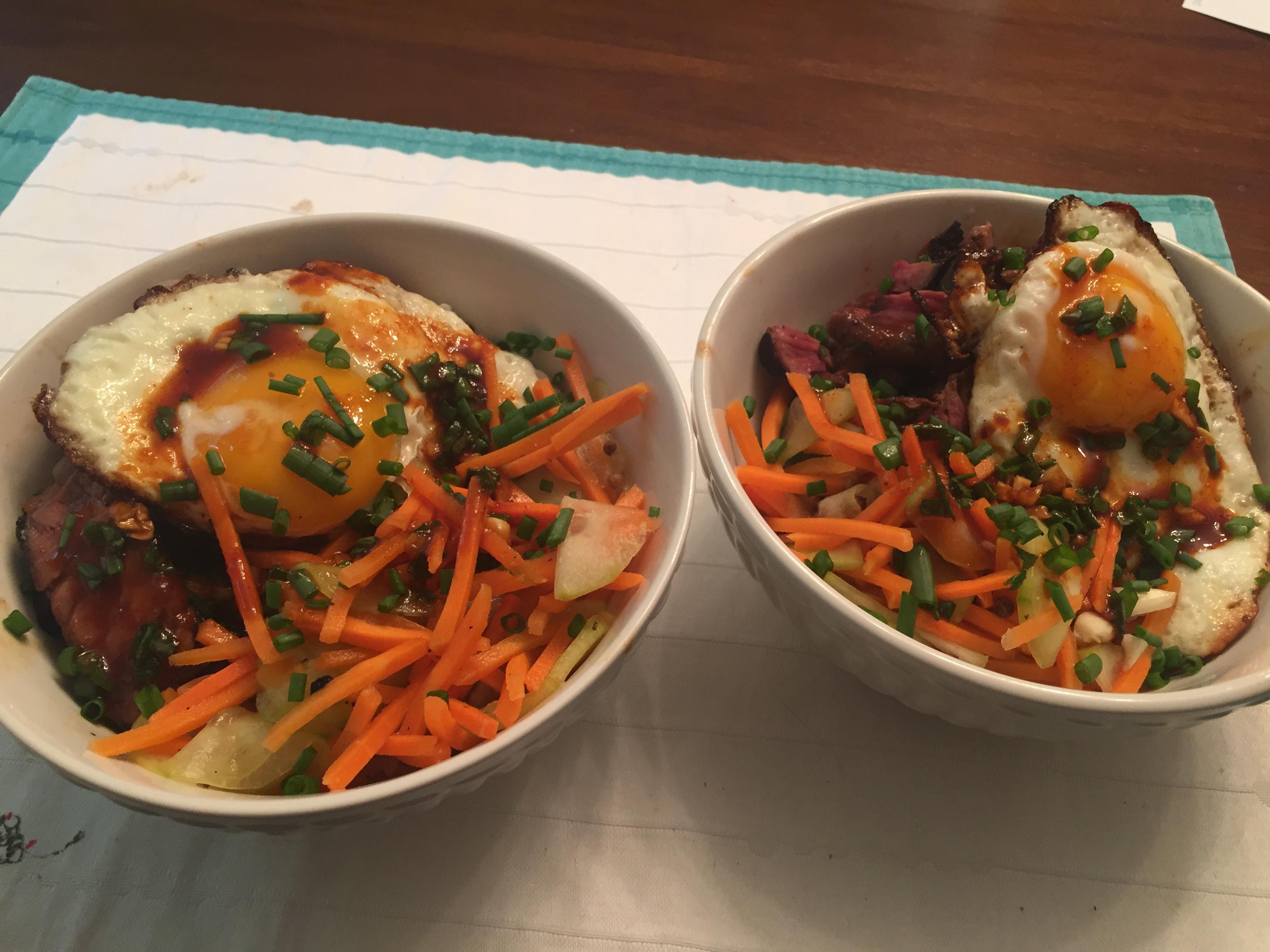 Two Healthy Beef Bibimbap Bowls