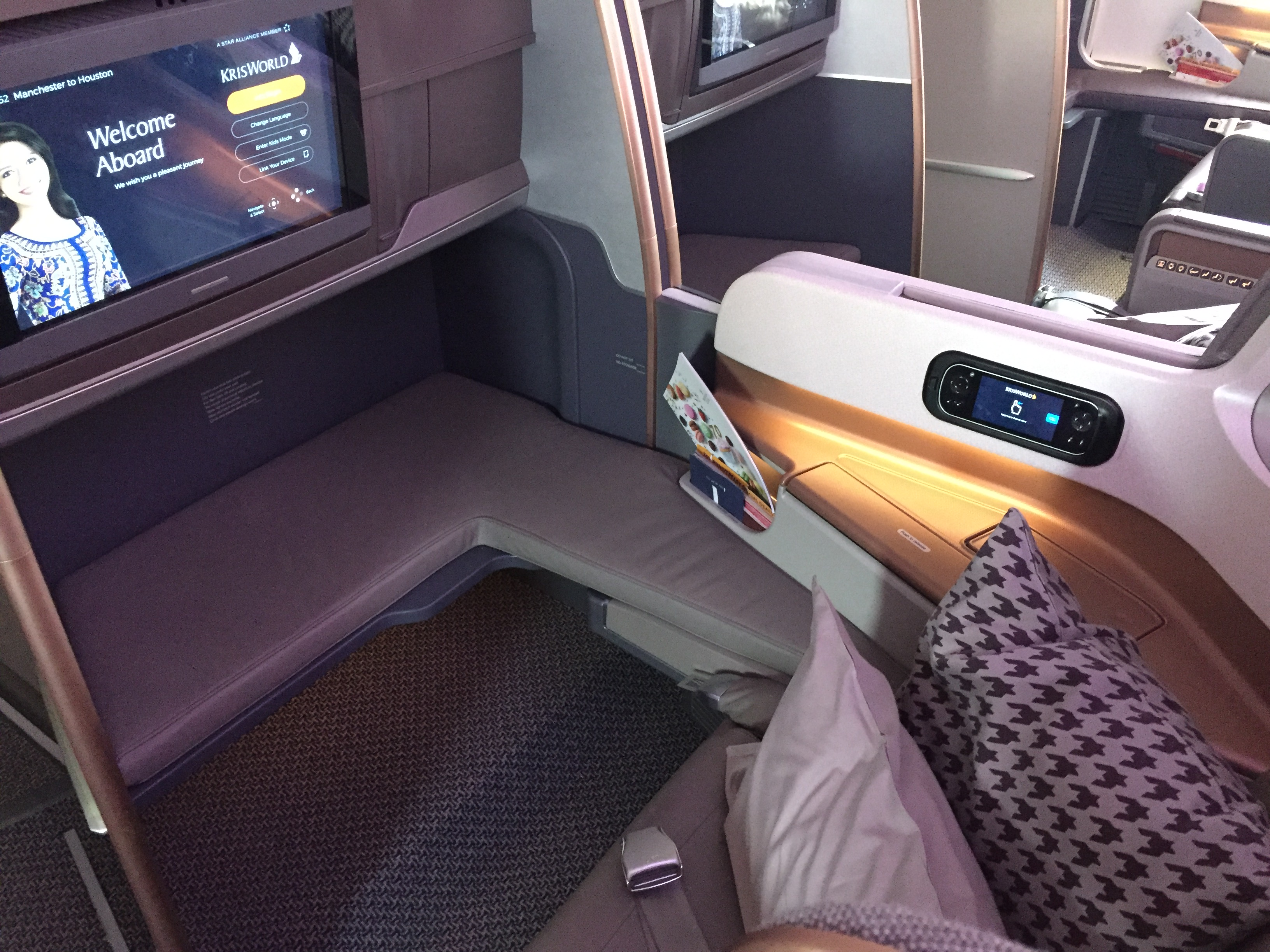 The bulkhead seat on a Singapore Airlines business class flight from Manchester to Houston