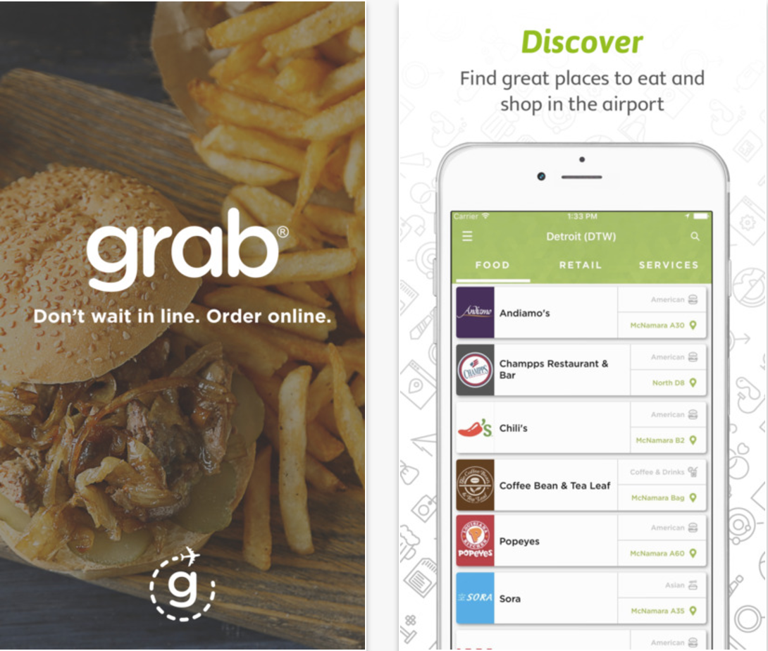 The Grab App allows you to order food on the go at Airports.